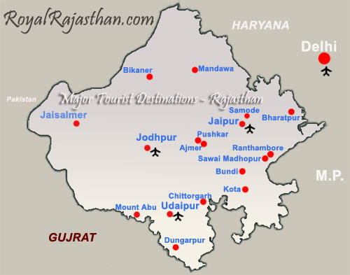 Rajasthan Tourist Map
